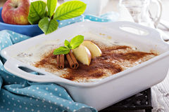Appele wholewheat bread strata. With cream cheese glaze Stock Photography