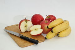 Appelen en Bananen Stock Foto