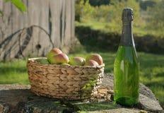 Appelen en Cider in Zon Stock Foto's