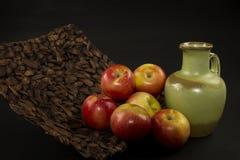 Appelen en een groene vaas II stock fotografie