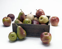 Appelen en peren in doos Royalty-vrije Stock Afbeelding
