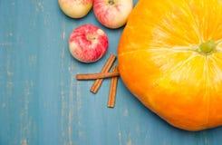 Appelen en pompoen en pijpjes kaneel op houten achtergrond Stock Afbeelding