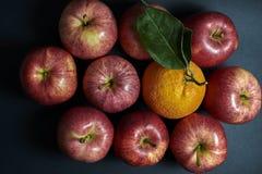 Appelen en sinaasappel Stock Afbeelding