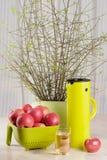 Appelen, glas sap en thermosflessenkruik Stock Afbeelding