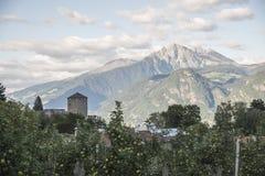 Appelen, kasteel en bergen Stock Foto's