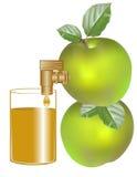 Appelen met blad en appelsap Royalty-vrije Stock Foto