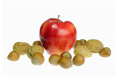 Appelen met noten royalty-vrije stock afbeelding