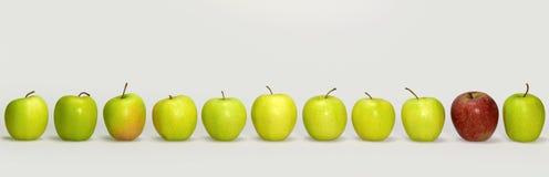 Appelen op een rij stock afbeelding