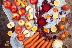 Appelen, wortelen, biet, kool, grapefruit, citroen boven r wordt gesneden dat Royalty-vrije Stock Foto's