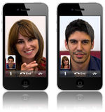 Appeler visuel de l'iPhone 4 neufs d'Apple Photographie stock libre de droits