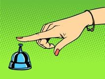 Appelez la cloche de main de femme de concierge illustration stock