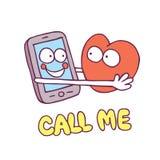 Appelez-moi des personnages de dessin animé de coeur de téléphone portable Photographie stock libre de droits
