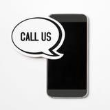 Appelez-nous bulle de la parole sur la bannière de smartphone Images stock