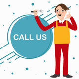 Appelez-nous service de téléphonie de technicien de mécanicien bande dessinée debout de caractère illustration libre de droits