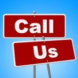 Appelez- quenous les signes indique le téléphone et la conversation de communication Images stock