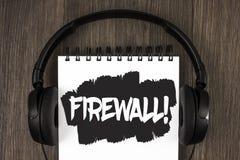 Appell för Firewall för ordhandstiltext Motivational Affärsidéen för Malware skydd förhindrar internetbedrägerier som är skriftli royaltyfria bilder