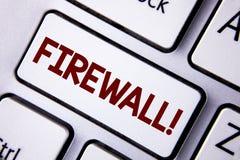 Appell för Firewall för ordhandstiltext Motivational Affärsidéen för Malware skydd förhindrar internetbedrägerier som är skriftli arkivfoto
