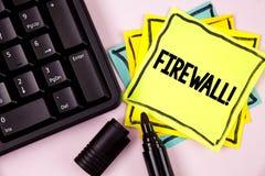 Appell för Firewall för ordhandstiltext Motivational Affärsidéen för Malware skydd förhindrar internetbedrägerier som är skriftli arkivfoton