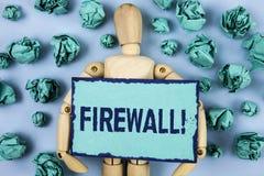 Appell för Firewall för ordhandstiltext Motivational Affärsidéen för Malware skydd förhindrar internetbedrägerier som är skriftli arkivbild