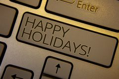 Appell för lyckliga ferier för ordhandstiltext Motivational Affärsidé för att hälsa fira festlig blac för tangent för dagtangentb Arkivbild