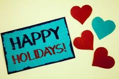 Appell för lyckliga ferier för ordhandstiltext Motivational Affärsidé för att hälsa fira festliga idéer bl för dagturkosanmärknin Arkivbild