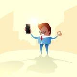 Appell för mobiltelefon för affärsman hållande, genom att använda den smarta mobiltelefonen royaltyfri illustrationer
