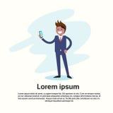 Appell för mobiltelefon för affärsman hållande, genom att använda mobiltelefonen stock illustrationer