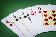Appell för pokerhand två par royaltyfri fotografi