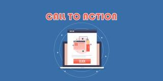 Appell till handling, CTA, åhörare som klickar på appellen till handlingknappen, optimizationbegrepp Plant designvektorbaner royaltyfri illustrationer