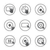 Appell till handlingsymbolsuppsättningen Arkivfoto