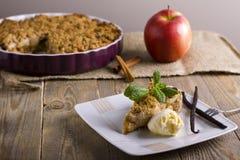 Appeltaart met roomijs, met vanille, munt en kaneel op houten achtergrond wordt verfraaid die Een heerlijk stuk van cake met ijs Stock Afbeelding