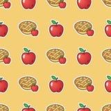 Appeltaart op rode patroonachtergrond Zoete en smakelijke gebakken vlaai van rood appelen naadloos patroon stock illustratie