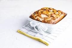 Appeltaart in schotels op een witte achtergrond Eigengemaakte fruitgebakjes voor een heerlijke ontbijtbeschikbare ruimte voor tek royalty-vrije stock fotografie