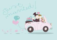 Appena automobile sposata Fotografie Stock Libere da Diritti