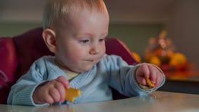 Appena bambino nato che prende il biscotto del pezzo stock footage