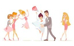 Appena coppia sposata che celebra con gli amici Immagini Stock