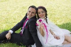 Appena coppia sposata romantica Fotografia Stock