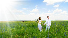 Appena coppia sposata sulla natura Fotografia Stock Libera da Diritti