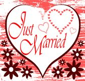 Appena fondo sposato con i cuori Immagine Stock Libera da Diritti