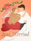 Appena progettazione di carta sposata dell'invito di nozze Fotografia Stock Libera da Diritti