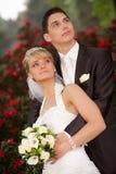Appena sguardo della coppia sposata Fotografia Stock Libera da Diritti
