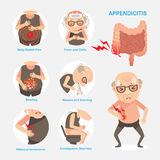 Appendicitis. Digestive organs, Causes and symptoms of . Vector cartoon illustration Stock Photos