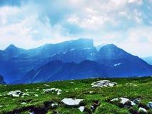 Appenzell Alps mountain range Appenzeller Alpen. Canton of St. Gallen, Switzerland royalty free stock photo