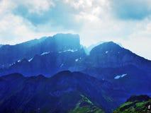 Appenzell Alps mountain range Appenzeller Alpen. Canton of St. Gallen, Switzerland royalty free stock image
