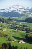 Appenzell. This is the beautiful region of Appenzell in Switzerland. Nice landscapes with hills and mountains in the background. Very rural and natural. The royalty free stock images