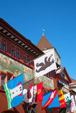Appenzell, Switzerland. Decorated historical centre of the Appenzell city royalty free stock photography