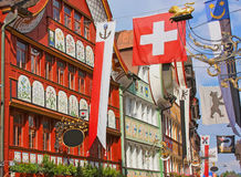 Appenzell, Switzerland, Hauptgasse street. Hauptgasse, the main street in Appenzell's historic district. Appenzell is a region and historical canton in royalty free stock photography