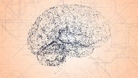 Apperas мозга искусственного интеллекта цифров синие в двоичных данных просматривают иллюстрация вектора