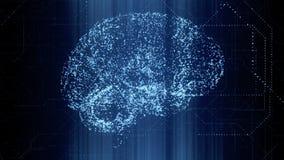 Apperas мозга искусственного интеллекта цифров яркие голубые в двоичных данных просматривают бесплатная иллюстрация