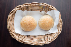 Appetiser. Bread on wooden table Stock Images